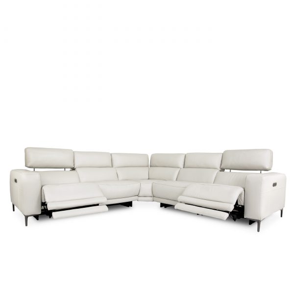 Fredrick Sectional in Frost, Angle, Recline