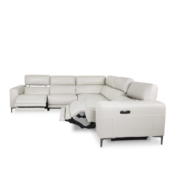 Fredrick Sectional in Frost, Front. Recline