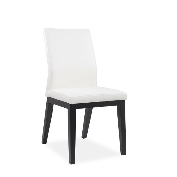 Lena Dining Chair in White Leather, Black Legs, Angle
