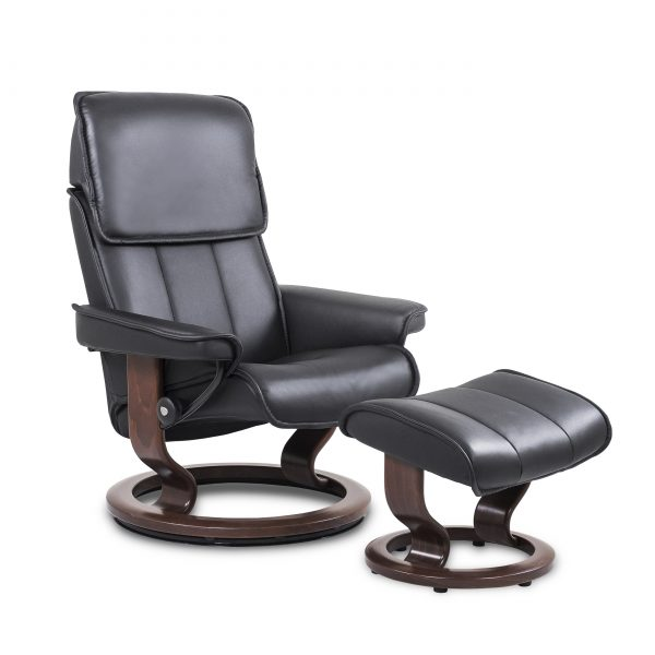 Stressless Admiral in Paloma Black with Walnut Base, Angle