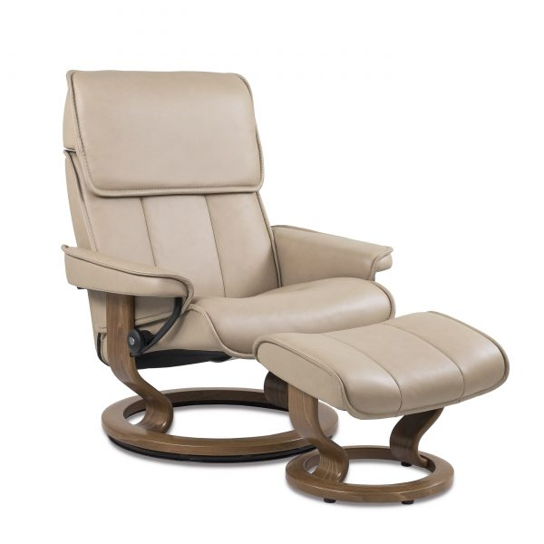 Stressless Admiral in Paloma Sand with Teak Base, Angle