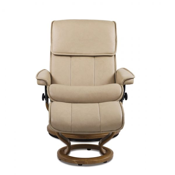 Stressless Admiral in Paloma Sand with Teak Base, Front