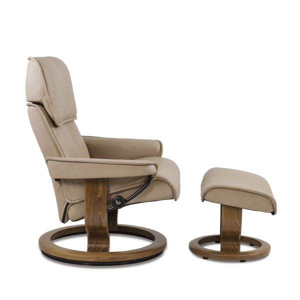 Stressless Admiral in Paloma Sand with Teak Base, Side