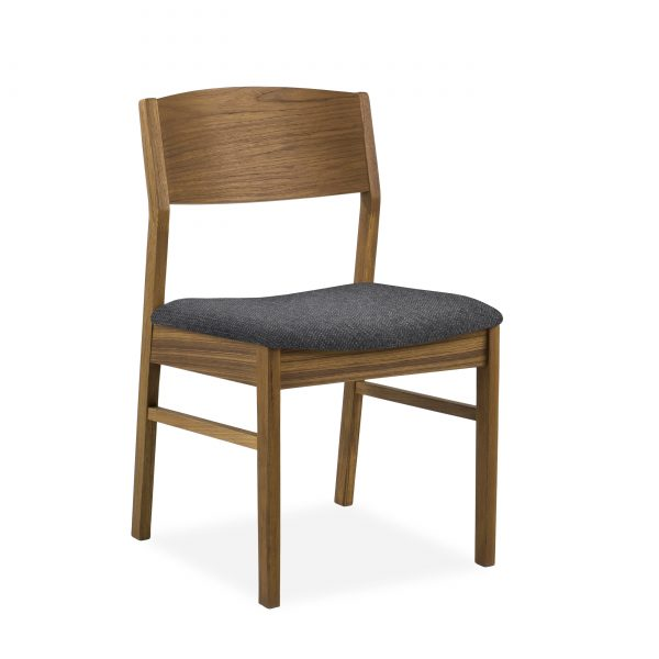 1012 Dining Chair in Charcoal, Teak, Angle
