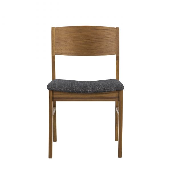 1012 Dining Chair in Charcoal, Teak, Front