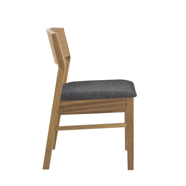 1012 Dining Chair in Charcoal, Teak, Side