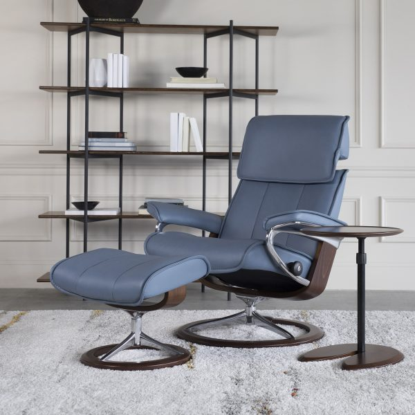 Stressless Admiral Recline in Paloma Sparrow Blue Leather with a Walnut Base.