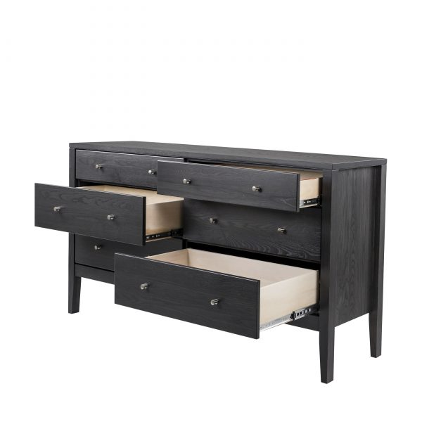 Calvin Double Dresser in Obsidian, Drawers Out