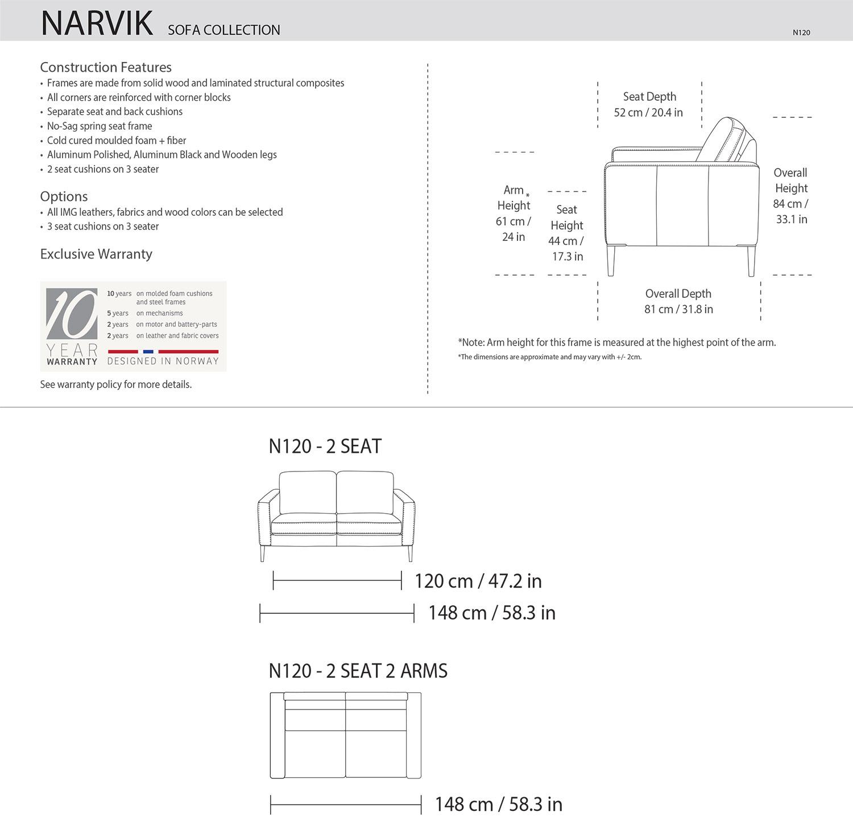 IMG Narvik Loveseat Dimensions