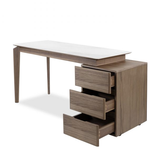 Ivy Desk in Walnut, Angle , Drawers Open