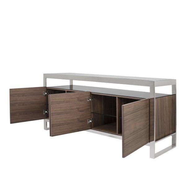 Miami Sideboard in Walnut, Angle, Doors Open