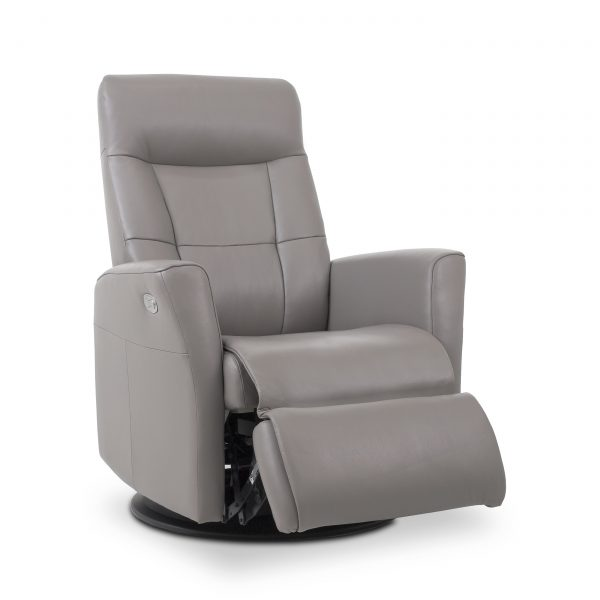 Mega Recliner in Stone Leather, Angle, Reclined