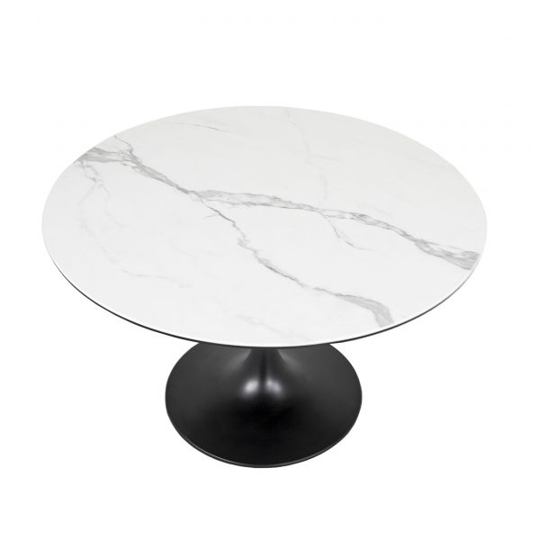 Astro Dining Table in White, Top, Angle