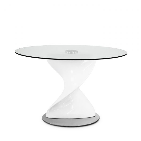 Darwin Dining Table in White, Angle